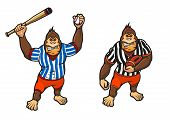 picture of gorilla  - Cartoon gorilla playing baseball and rugby wielding a baseball bat and carrying a football - JPG