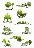 stock photo of row trees  - Green trees in landscapes icons with stylized rows or stands of trees in swirling scenery - JPG