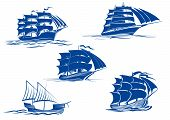 stock photo of tall ship  - Ancient and medieval sailing ships in blue silhouette showing various tall ships with two or three masts - JPG
