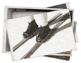 stock photo of ski boots  - Vintage photos Old wooden skis and leather ski boots - JPG