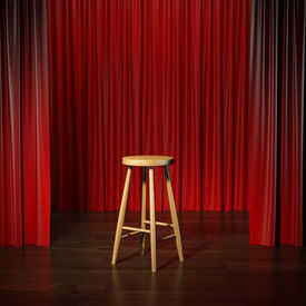 image of curtains stage  - stool on a stage with curtains - JPG