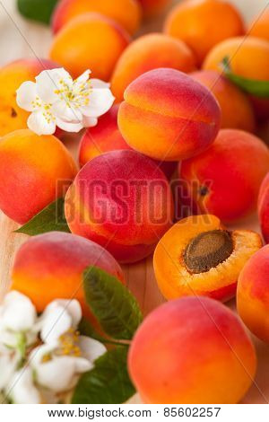 Background of fresh apricots with flowers