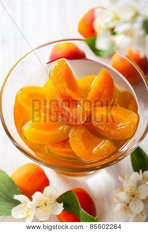 Fresh apricot compote in glass bowl