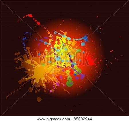 Abstract artistic dark Background of colorful paint