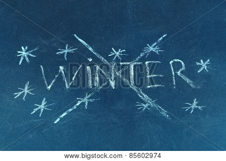 Goodbye Winter written on board