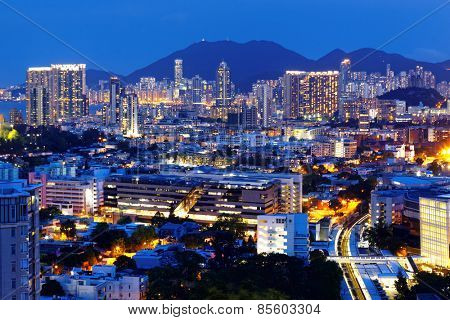 hong kong urban city at night