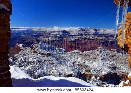 Snow covered Grand Canyon
