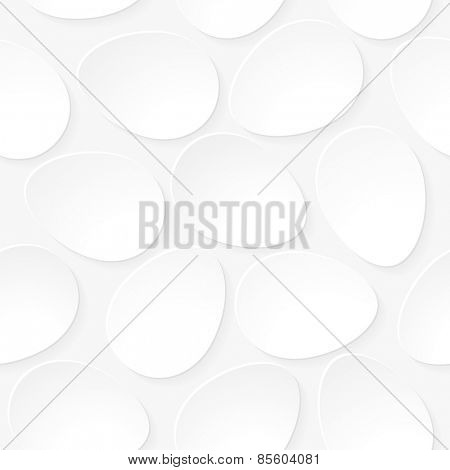 Seamless white eggs background.