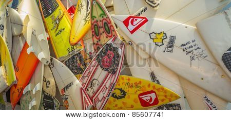Broken  surfboards wall display.