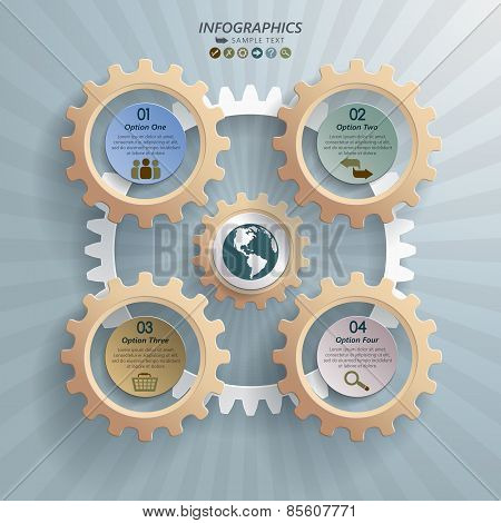 Cogwheels Industrial Infographic Background Concept
