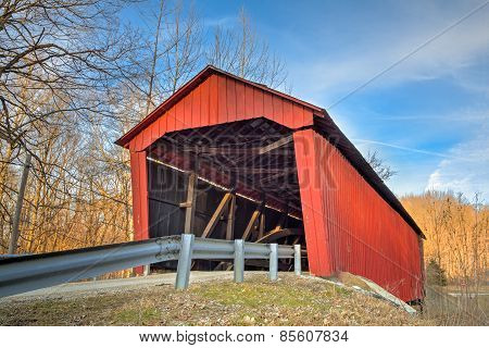 Edna Collings Covered Bridge At Sundown