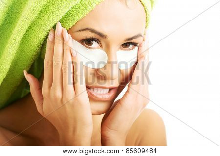 Portrait of a woman with an eye mask.