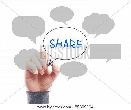 Social Media Concept Whiteboard With Businessman Hand Drawing