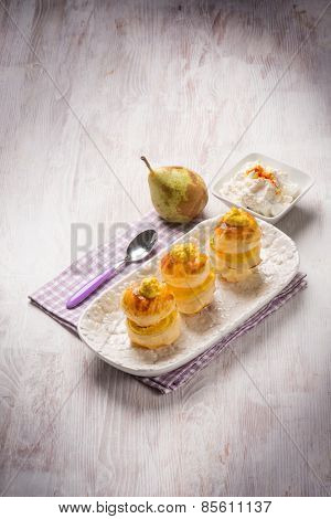 french pastry with pear and ricotta