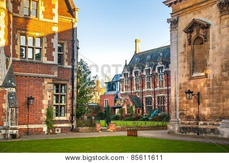 Pembroke college inner yard with church. University of Cambridge.