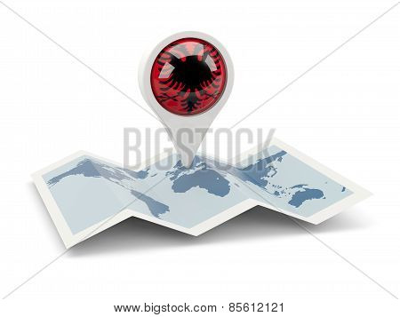 Round Pin With Flag Of Albania