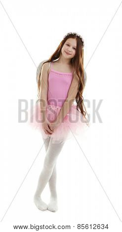 Beautiful little ballerina with decorative wings, isolated on white