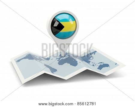 Round Pin With Flag Of Bahamas