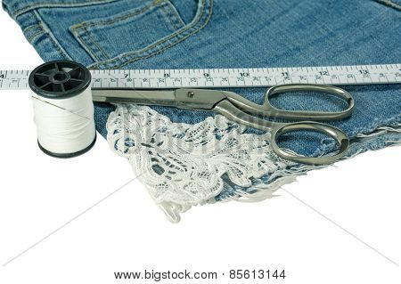 Shorts Jeans Sawing Diy With Lace