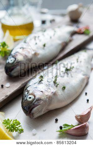 Closeup of fresh raw trouts on cutting board