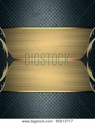 Grunge Blue Background With Gold Nameplate. Design Template. Design Site