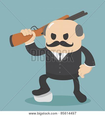 Big Boss Businessman Holding A Gun