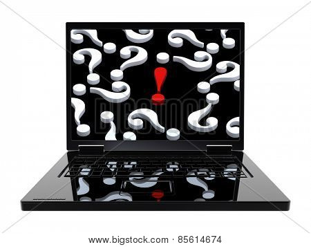 Laptop with question marks and red exclamation point on the screen isolated over white. Computer generated 3D photo rendering.