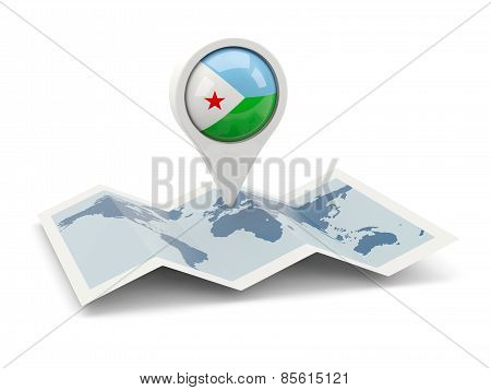 Round Pin With Flag Of Djibouti