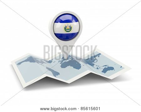 Round Pin With Flag Of El Salvador