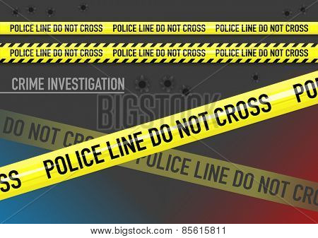 Vector set of Police line do not cross tape, lights, and bullet holes