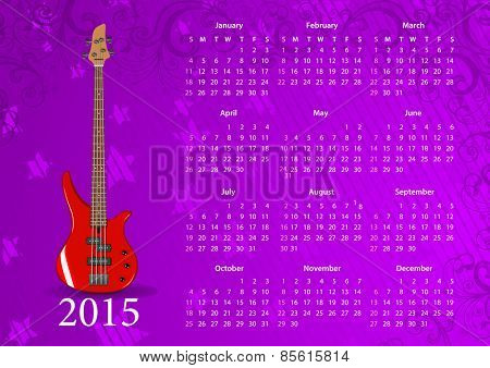 Vector American calendar 2015 with bass guitar, starting from Sundays