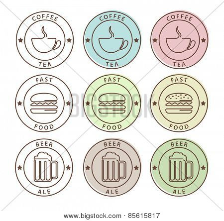 Vector set of food icons in outline style, coffee, tea, beer, fast food