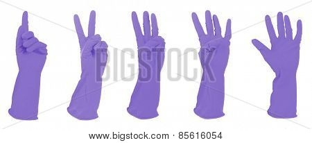 Purple gloves gesturing numbers isolated on white