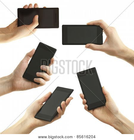 Hand holding mobile smart phone isolated on white, Different variations in collage