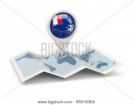 Round Pin With Flag Of French Southern Territories