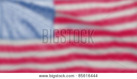Abstract blurred background with US flag