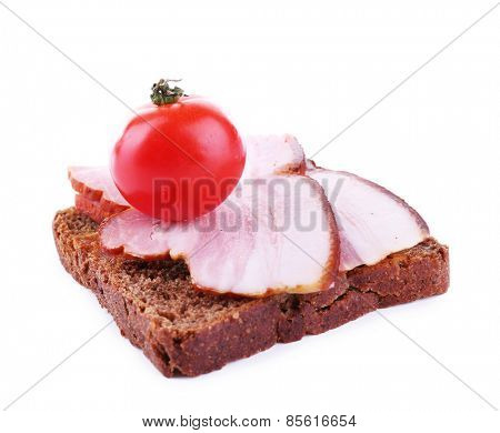 Sandwich with ham and tomato isolated on white