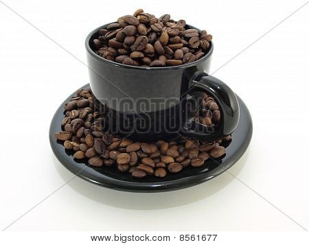 Black Coffee Cup With Beans