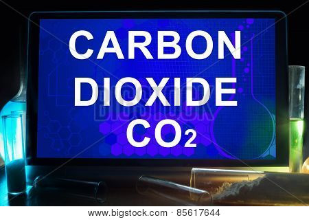 Tablet with chemical formula of carbon dioxide .