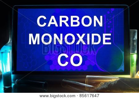 Tablet with chemical formula of  carbon monoxide .