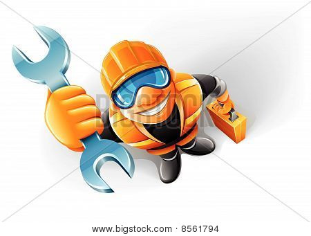 service man worker with key in the arm
