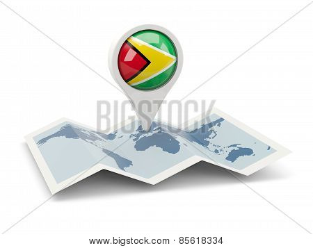 Round Pin With Flag Of Guyana