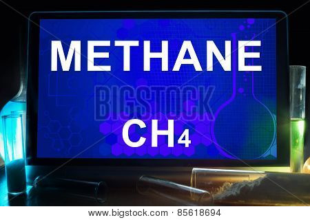 Tablet with chemical formula of methane.