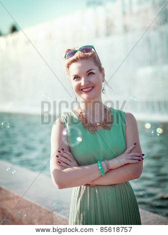 Happy Beautiful Young Girl With Braces In Vintage Clothing