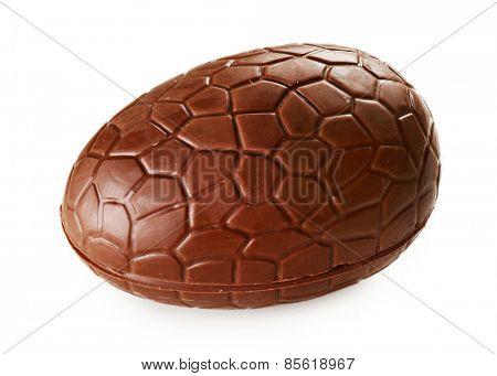 Chocolate egg isolated on white
