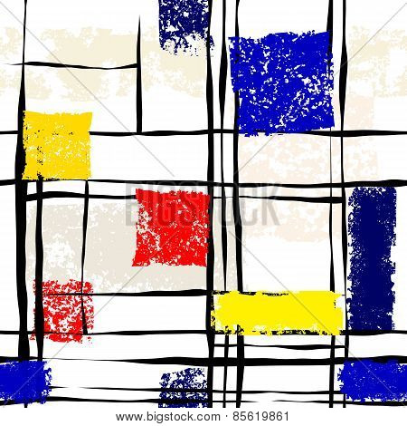 Grunge imitation of Mondrian painting