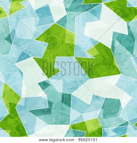 Abstract Blue Mosaic Seamless Pattern With Grunge Effect