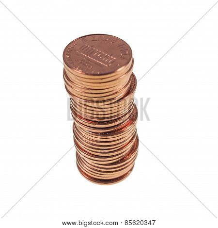 Dollar Coins 1 Cent Wheat Penny Cent Isolated