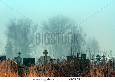 spooky cemetery in nigth time