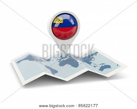 Round Pin With Flag Of Liechtenstein
